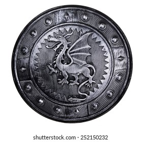 Round shield with dragon sign isolated on white background
