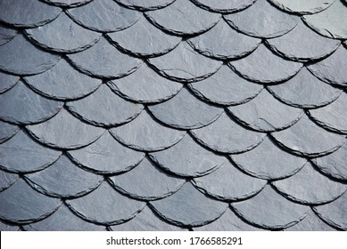 Round slate shingles,beautiful detailed slate roof.The slates rounded by hand