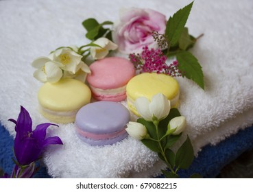round soap on a towel with flowers
