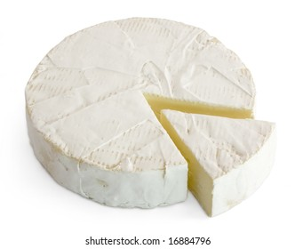 Round soft cheese, with a section cut.