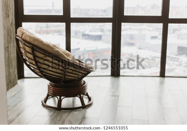 Stupendous Round Soft Rocking Chair Stands Penthouse Stock Photo Edit Inzonedesignstudio Interior Chair Design Inzonedesignstudiocom