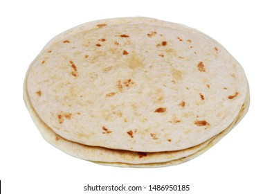 Round soft wheat flour tortilla pancakes. Isolated on white studio food image
