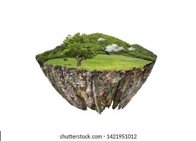 round soil ground cross section with earth land and green grass.  fantasy floating island with natural on the rock, surreal float landscape with paradise concept isolated on white background