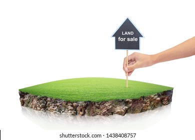 round soil ground cross section with earth land. House symbol with location pin and green grass in real estate sale or property investment concept, Buying new home isolated on White Background