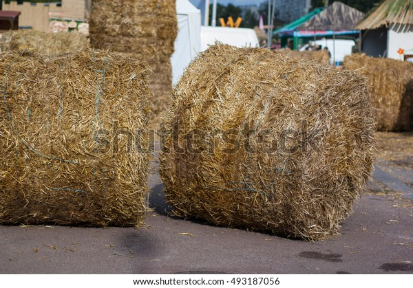 Round stack of hay lying on the road near the house.