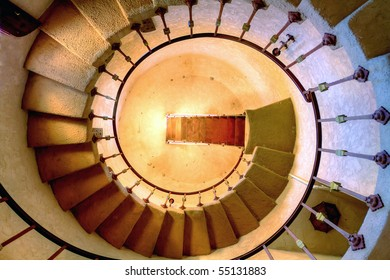 Round staircase architectural detail shot taken from down to up