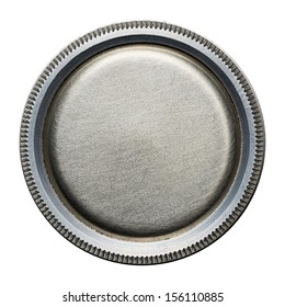 Round steel button, metal plate texture