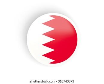 Round sticker with flag of bahrain isolated on white