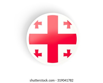 Round sticker with flag of georgia isolated on white