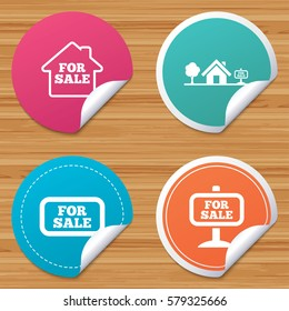 Round stickers or website banners. For sale icons. Real estate selling signs. Home house symbol. Circle badges with bended corner.