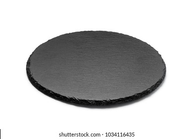 Round stone plate isolated on white background