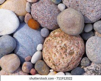 round stones on the baltic sea closeup