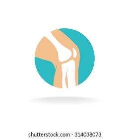 Round symbol of knee joint bones for orthopedic purposes.