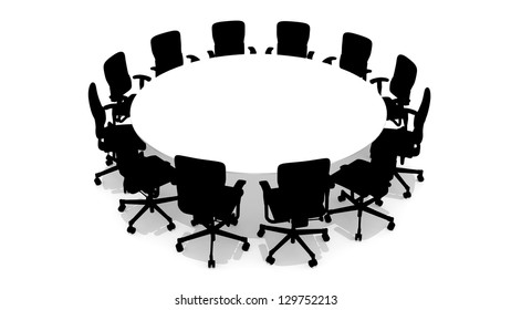 Round table with chairs - front view - 3D rendered