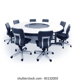 round table and chairs isolated on white background.