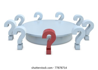Round table with red and group of white question marks isolated on white background