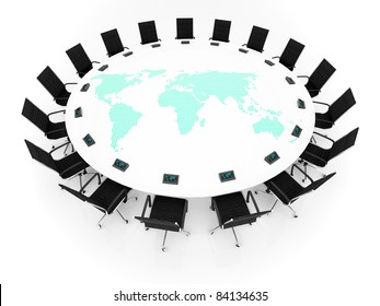 Round Table world map table