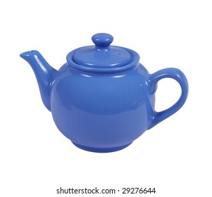 Round teapot of blue color on a white background.