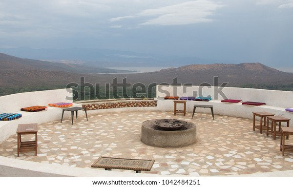 Round terrace on the background of a mountainous landscape. The Landscape Of The Landscape Of Ethiopia..