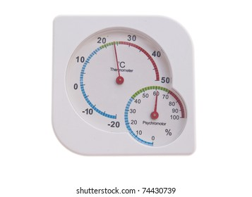 Round thermometer showing warming; isolated, clipping path included