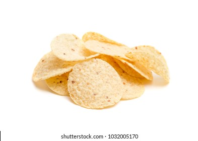 Round Tortilla Corn Chips on a White Background