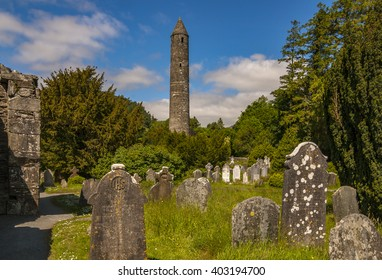 Round tower and cemetery in Glendalough, Ireland