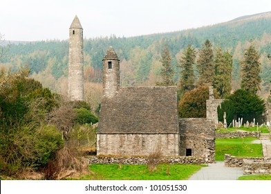 round tower and church in Glendalough, Ireland