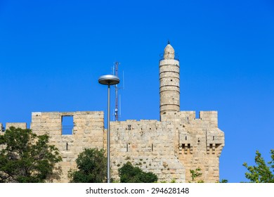 The round tower of King David at the old city walls of Jerusalem