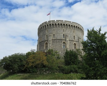 The Round tower in the Middle Ward : Part of Windsor Castle which is a royal residence at Windsor in the English county of Berkshire and is the longest-occupied palace in Europe