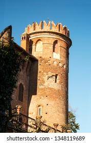 Round tower of Renaissance castle, vertical image