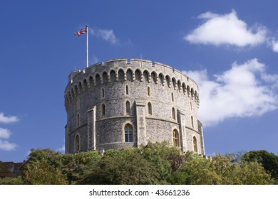 Round Tower  with the royal flag, Windsor Castle in UK