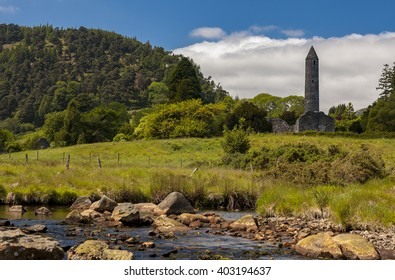 Round tower and ruin of church in Glendalough, Ireland