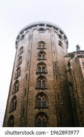 the round tower in a snowstorm in copenhagen