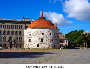 Round Tower. Vyborg, Market Square. Monument fortification XVI century.