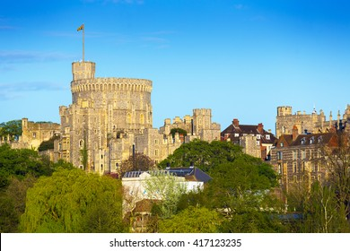 The Round Tower at Windsor Castle.  Windsor, Berkshire, England, UK