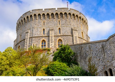 Round Tower of the Windsor Castle, Berkshire, England. Official Residence of Her Majesty The Queen