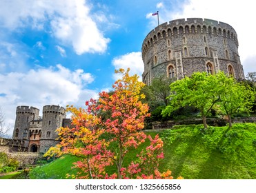 Round Tower of Windsor Castle, London suburbs, UK