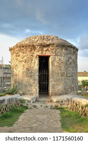 Round turret or sentry or barbizan on the wall of the Spanish founded-triangular shaped-coral stone built Fuerte-Fort-Fuerza de San Pedro with today's structure dated 1738 AD. Cebu city-Philippines.