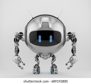 Round tv bot with funny antennaes and digital face / screen, 3d illustration