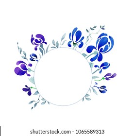 Round vignette with blue watercolor irises or crocuses. Large buds consist from drop-shaped forms. Flowers and small leaves drawn by hand.
