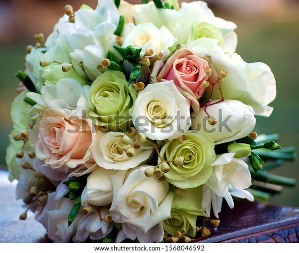 Round Vintage Bridal Bouquet of Roses, Freesias  and Tulips. Wedding Flowers.