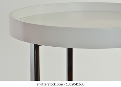 A round vintage glass and Perspex coffee table, White Coffee Table with Glass Top, Sedia Series Coffee Table,