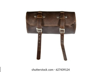 Round vintage leather tool Bag with isolated on white background, pannier or luggage for bicycle and motorcycle ,