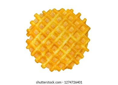 Round waffle isolated on white background