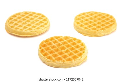 Round Waffles Ready for Breakfast on a White Background