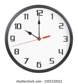 Round wall clock isolated on white background. 10 p.m. or 10 a.m