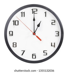 Round wall clock isolated on white background. 1 p.m. or 1 a.m