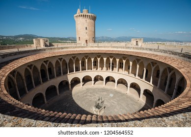 Round walls of Bellver castle - medieval fortress in Palma de Mallorca, Balearic Islands, Spain