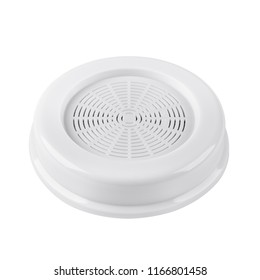 Round water filter white with carbon particles for sinks and general water appliances in house isolated on white background