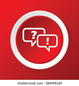 Round white icon with text bubbles, question mark and exclamation mark, on red background